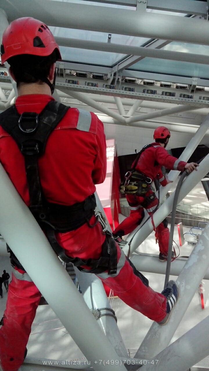 ТЦ Кунцево Плаза выполненые высотные работы альпинистами Альтиза