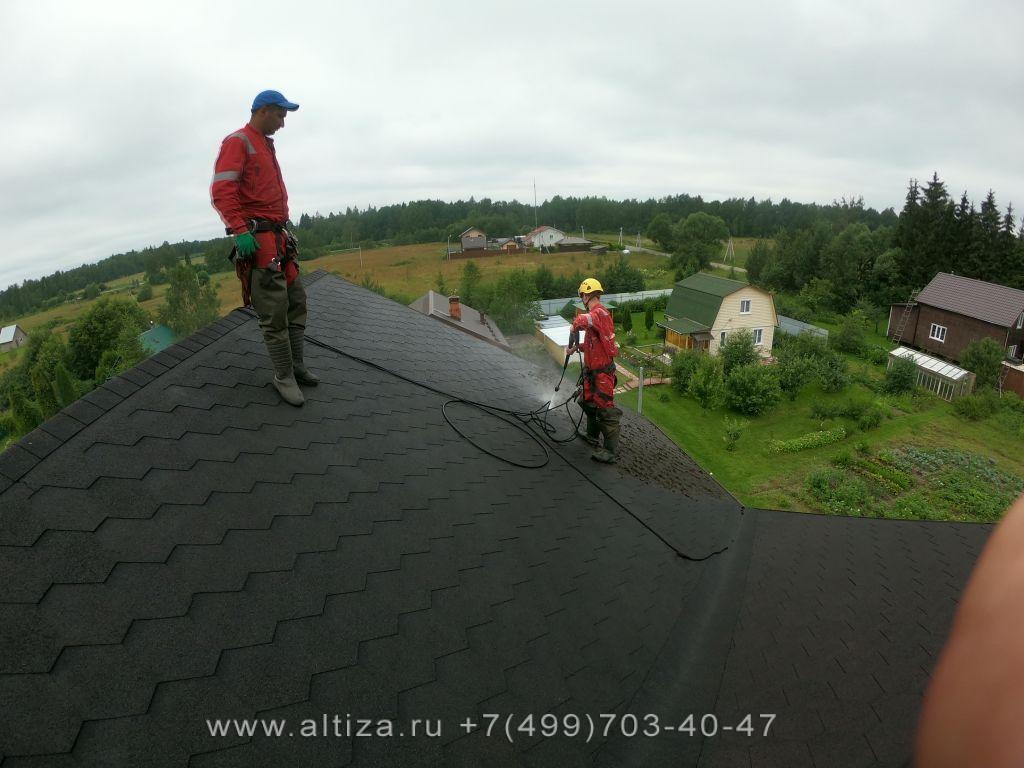 удаление мха крыше