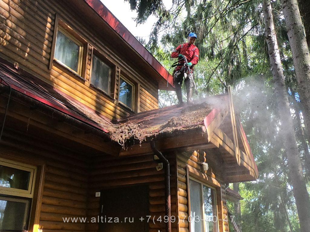 как очистить крышу от мха