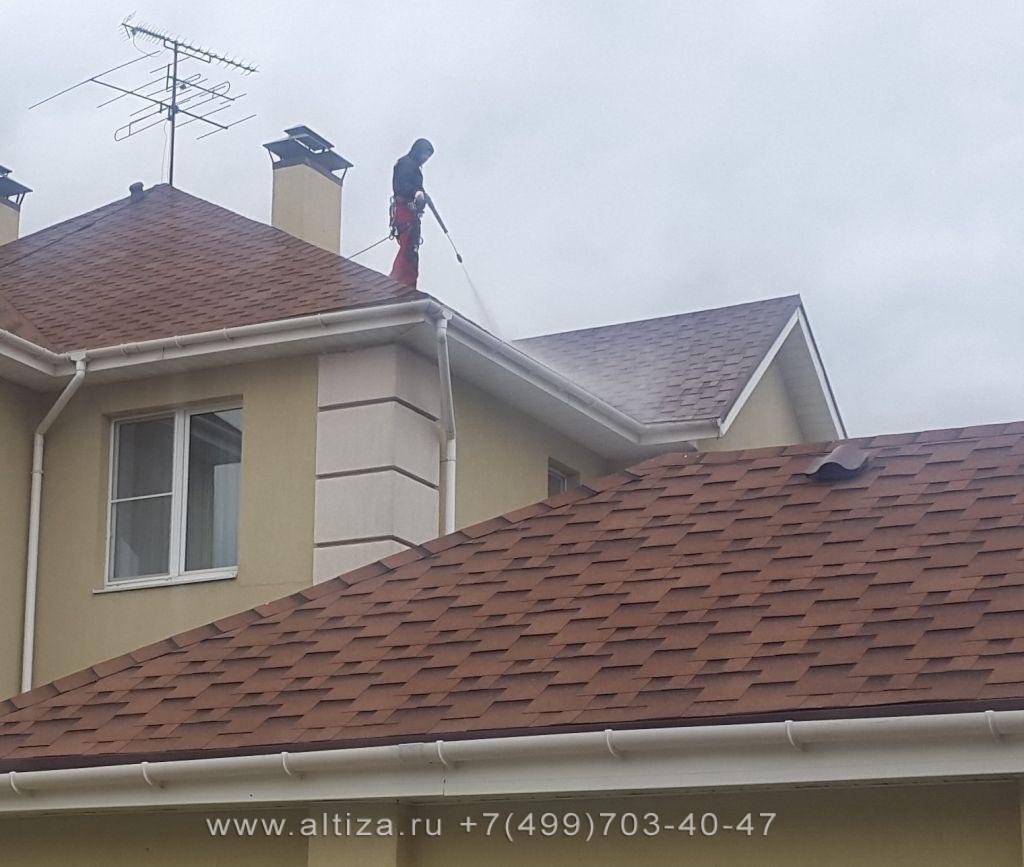 удалить мох с крыши