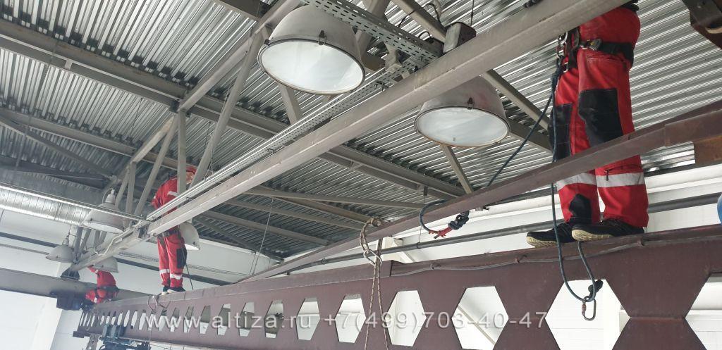 Замена светильников на высоте