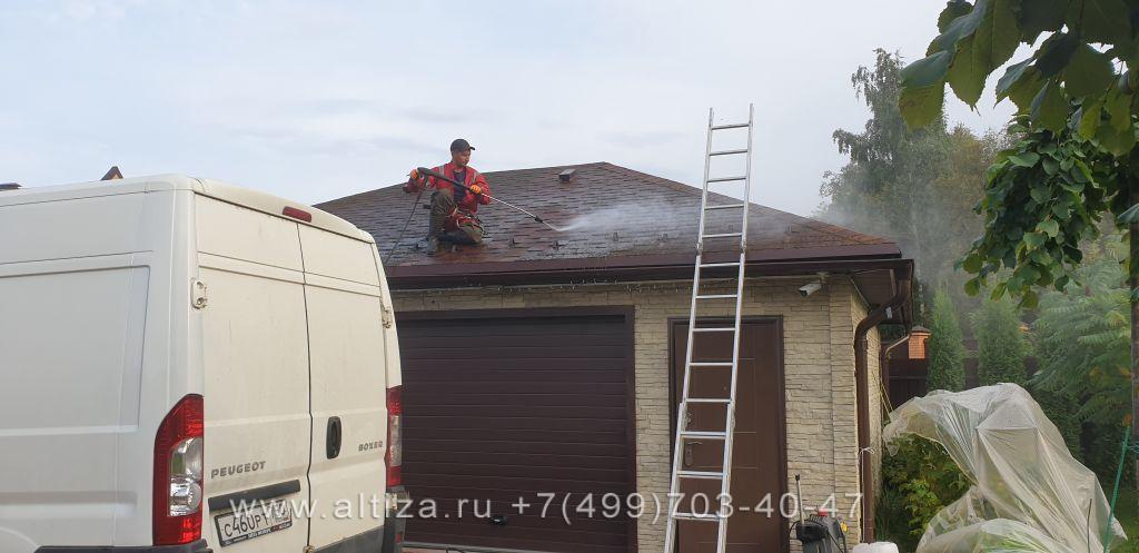 убрать мох с мягкой кровли крыши