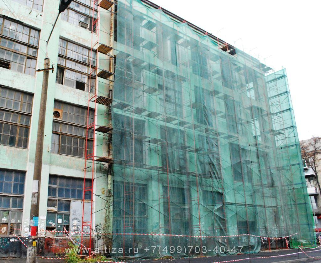 Монтаж фасадной сетки