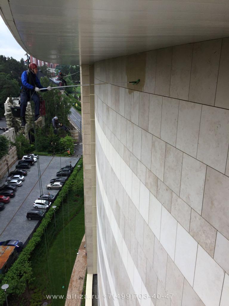 ЖК Сколково Парк выполненые высотные работы альпинистами Альтиза